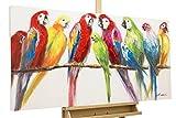 Kunstloft® Cuadro en acrílico 'Retrato de Familia' 120x60cm | Original Pintura XXL Pintado a Mano sobre Lienzo | Pájaros Loros Colorido | Cuadro acrílico de Arte Moderno en una Pieza con Marco