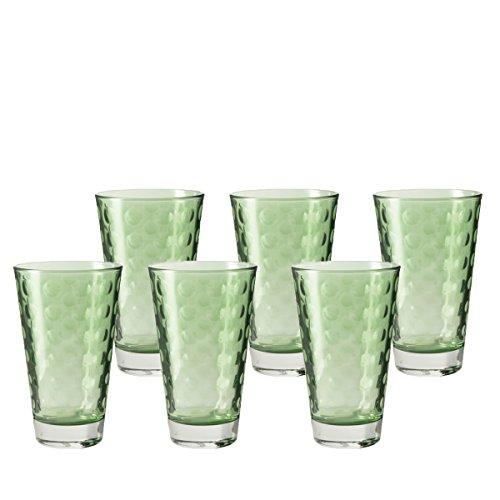 Leonardo Optic Becher groß Verde, 6-er Set, 300 ml, hellgrünes Klarglas mit Colori-Hydroglasur, 018008