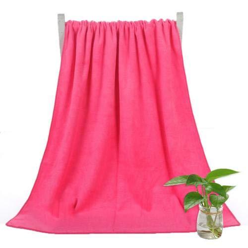 Heliansheng 140 * 70cm Solid Color Quick Drying Bath Towel Super Absorbent Towel Beach Towel -Dark Pink