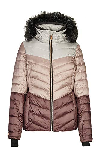 killtec Skijacke Damen Brinley - Winterjacke Damen - Damenjacke sportlich mit Skipasstasche - warme Jacke für den Winter - wasserdicht, dunkelrose, 34