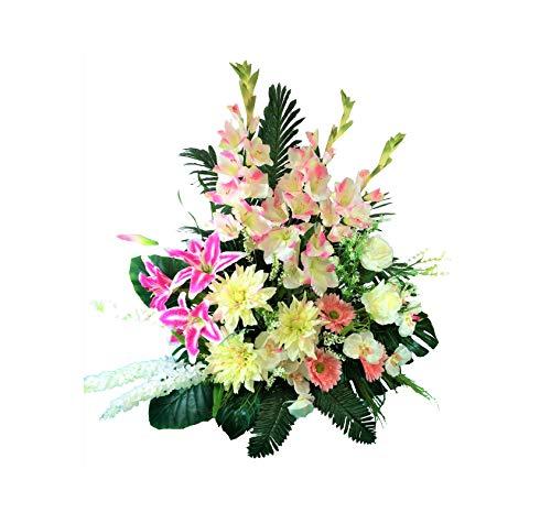 LBA Centro de Flores Artificiales para Cementerio. También para Iglesias. Especial Día de Todos los Santos. Medidas: 80x70x45 cms. Aprox.