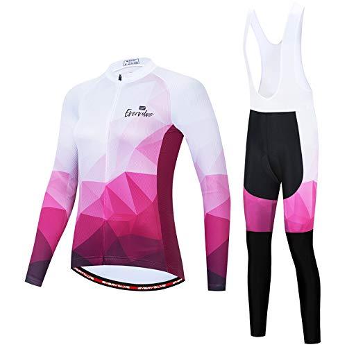 Ciclismo Maillot para Mujer Secado Rápido Jersey Pantalones Culotes de Malla de Bicicleta Transpirable con Almohadilla 3D Largos Mangas de Secado Rápido Ciclismo Conjunto de Ropa QXF-1,D5,S