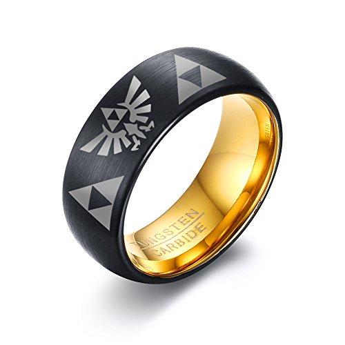 VNOX Tungsten Carbide Two Tone The Legend of Zelda Triforce Ring for Men Boy,Size 8-12