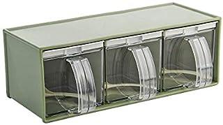 SMEJS Rack Assaisonnement Plastique Transparent, Pot à épices Boîte de Rangement Container Vert Bouteille Assaisonnement O...