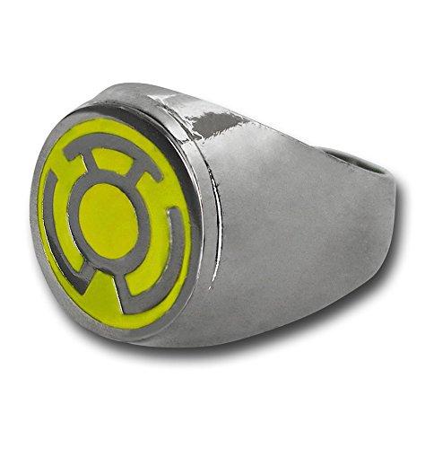 Amarillo farol símbolo anillo chapado en acero inoxidable