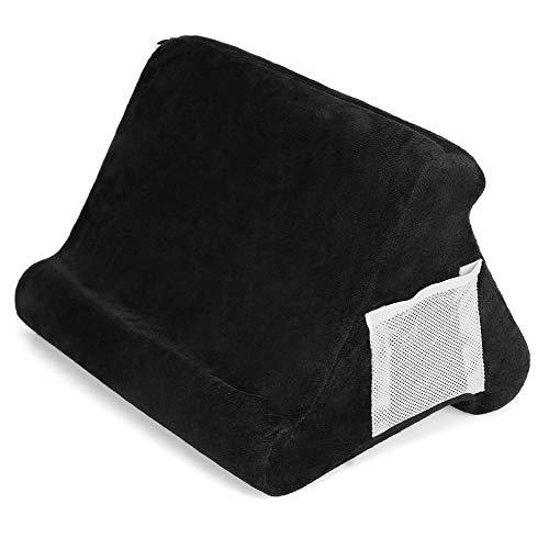 ZEUSE® Soporte de almohada plegable para tableta, libro, soporte de lectura para el hogar, cama, sofá, multiángulo, suave, soporte para tableta, soporte para lectores electrónicos (negro)