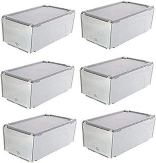 MU Grand 6 paquets, boîte de stockage de chaussure, boîte transparente transparente épaisse pliable de ménage,gris
