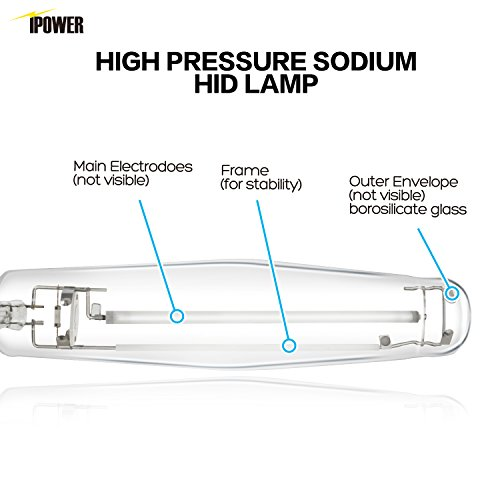 iPower GLBULBH1000 1000 Watt Pressure Sodium HPS Grow Light Bulb Lamp for Plants High PAR Enhanced Red and Orange Spectrums CCT 2100K, 1000W, Transparent