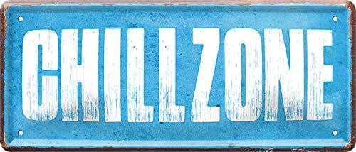 """Blechschilder Lustiger Spruch """"Chillzone"""" Deko Schild Metallschild Geschenkidee Retro Chill Zone Vintage Witziges Wellness Relax Geschenk zum Geburtstag Weihnachten 28x12 cm"""