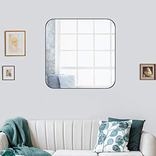 FENORI Wall Mirror for Bathroom - Contemporary Square Mirrors for Vanity, Silver -