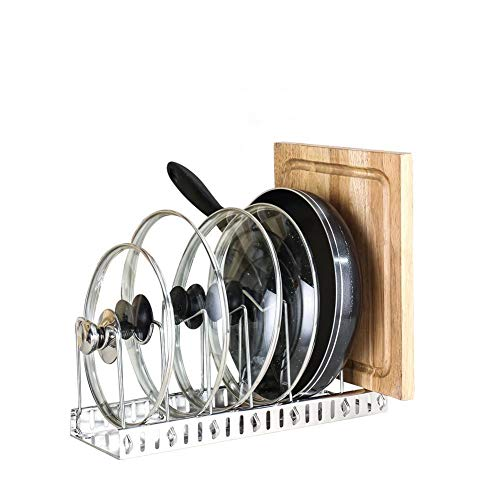 Pan and Pot Lid Holder AniU Adjustable Pan Rack Cookware Pot Lid Rack Organizer Cutting Board Holder 6-Tiers Ideal for Kitchen Counter and Cabinet Storage