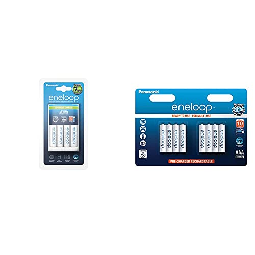 Panasonic Eneloop Sy3052296 Cargador Bq-Cc17 (Incluye 4 X AA) + Sy3052692 Pack 8 Pilas Recargables, AAA