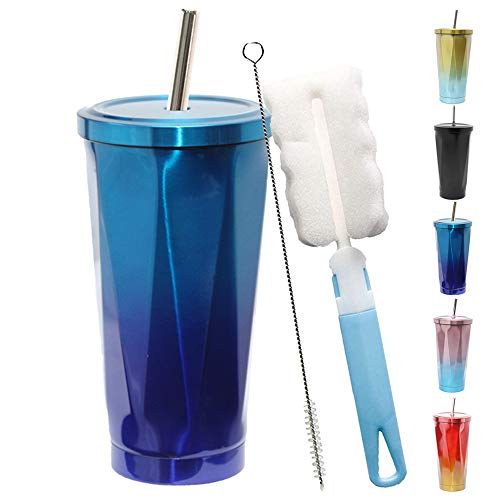 Grando Edelstahl-Trinkbecher, Kaffeetasse mit Strohhalm, vakuumisoliert, für Büro, Auto, für eiskaltes oder warmes Trinken, blau, 500 ml