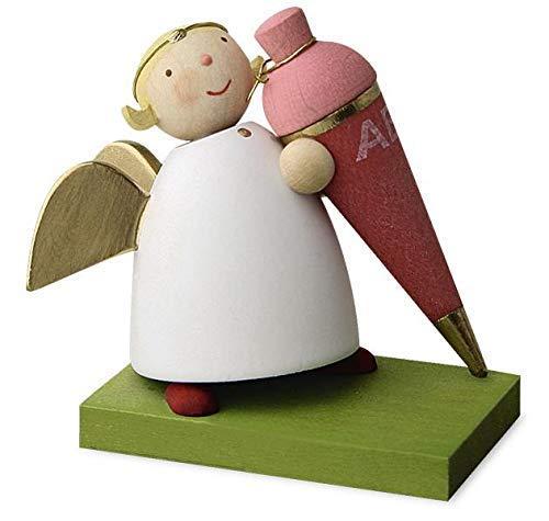 Günter Reichel Schutzengel mit rosa Schultüte (Mädchen), handgefertigt, Kunsthandwerk aus dem Erzgebirge, Schutzengel für ABC-Schützen Schulanfänger, Geschenk zum Schulanfang