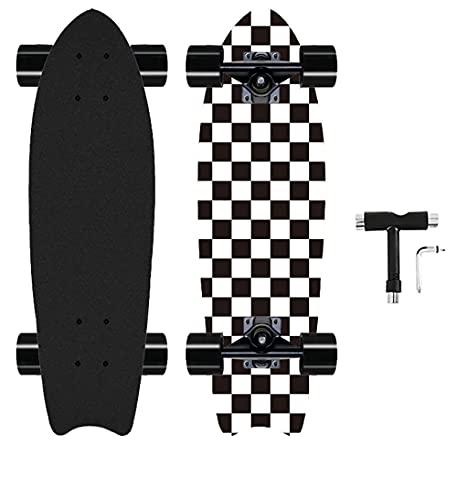 Cruiser 27Inch Complete Skateboard Mini Cruiser Skateboards Longboard for Kids Teens Adults (Black&White)