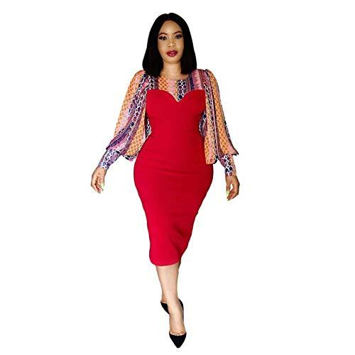 COISINI Vestido De Mujer,Moda Mujer Vestido Estampado O Cuello Delgado Patchwork Mangas Largas Mini Flor Moda Africana Gran Tamaño Paquete De Damas Cadera Batas Femeninas Rojo, XXXL