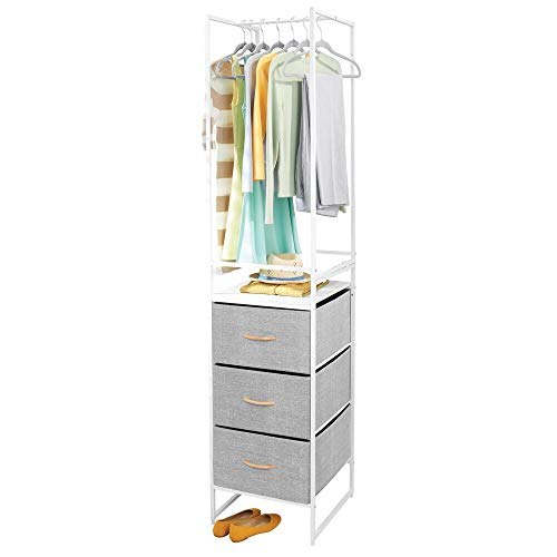 mDesign Modular Closet Organizer System Storage Unit, Sturdy Steel Frame, Fabric Bins/Garment Rack for Bedroom, Hallway, Entryway, Textured Print, 3 Drawers, Garment Rack, Set of 2 - Gray/White
