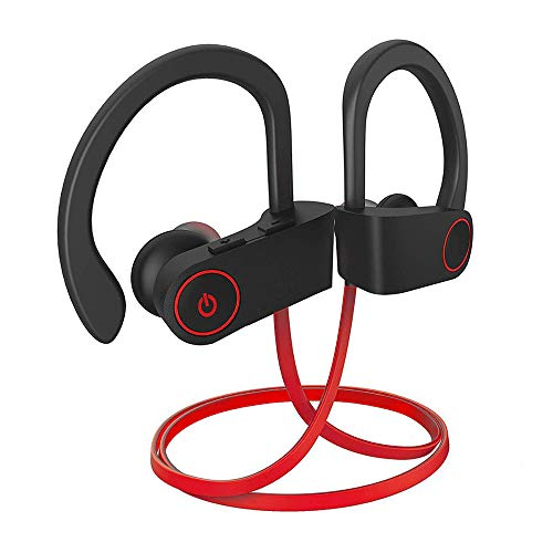 Bluetooth Ear Phones IPX7 Waterproof, Wireless Sport Earphones, HiFi Bass Stereo Sweatproof Earbuds W/Mic, Noise Cancelling Headset for Workout, Running, Gym, 8 Hours Play time (Red/Black)