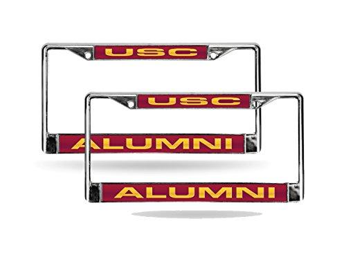 Rico USC Trojans NCAA Alumni Chrome Metal (2) Laser Cut License Plate Frame Set