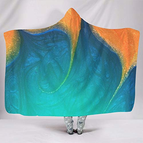 KASTLEE Painting Blue Golden Art Hooded Blanket Throw Cloak Winter Colorful Cape for Women Man Student Kids Soft Teenager On Sofa Bed Couch Prisent Sleep White 60x80 inch
