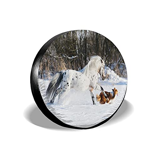 VINISATH Tire Cover Spare Wheel Tire Cover,Appaloosa Pony y Sable Border Collie galopa en Invierno,Wheel Covers for Trailer RV SUV Truck Camper Travel Trailer Accessories 17inch