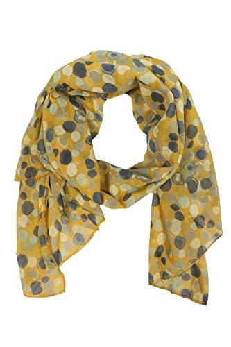 Zwillingsherz Seiden-Tuch im auffälligem Design - Hochwertiger Schal für Damen Mädchen - Halstuch - Umschlagstuch – Pashmina - Loop - weicher Schlauchschal für Frühjahr Sommer Herbst Winter - gelb