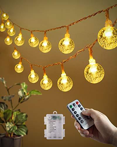 Ghirlanda Luminosa, 10M 80 LED lucinedecorative Impermeabile Sfera di cristallo Illuminazione decorativa Interno Esterno per camera da letto Natale Giardino Gazebo(bianco caldo)