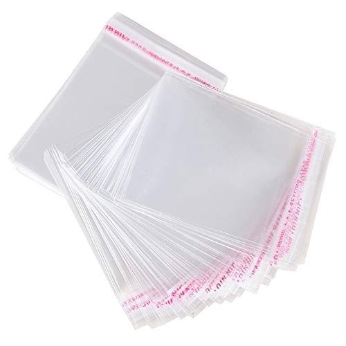 MGE - Bolsas de Celofán Transparente - Bolsas de Plástico con Banda Autodhesiva - Autocierre - Pack de 100 (25 x 25 cm)