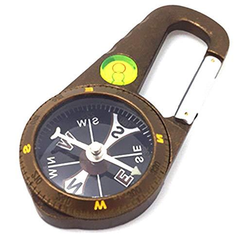 Vintage Compass Portable Mini Compass, materiaal van zinklegering, met Waterpas karabijnhaak, voor wandelen/reizen/cadeau/kamperen/lesgeven/buitenreizen