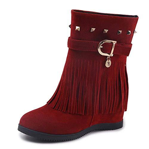Schoenen-YRQ Dames Laarzen Kunstmatige PU Herfst Winter Fringe Laarzen Casual Boots Enkellaarzen Koffie Bruiloft Feest & Avond Party & Evening 38 Rood