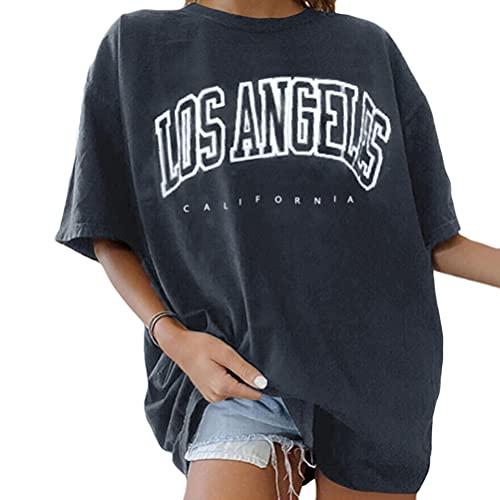 Tomwell Damen T-Shirt Sommer Kurzarm Grafikdruck Shirt Tunika Lose Rundhals Longshirt Frauen Bluse Oberteile Lang Tops für Teen Girls Sommer Grau XL