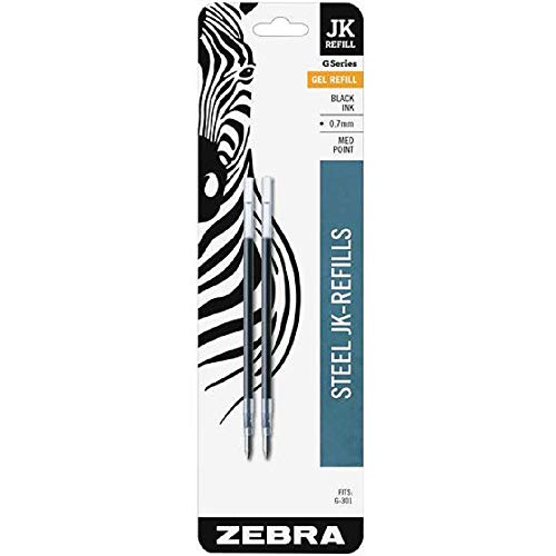 Zebra G-301 Recambio de bolígrafo de acero inoxidable JK, punta fina, 0,7 mm, tinta negra, 2 unidades, paquete de 5 (total 10 recambios)