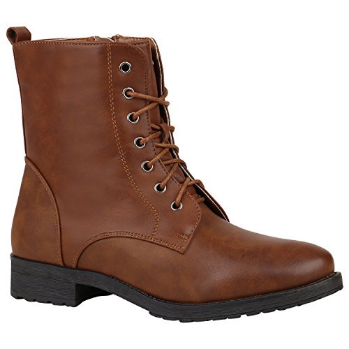 Gefütterte Damen Schuhe Schnürstiefeletten Profilsohle Stiefeletten 152395 Hellbraun Brito 42 Flandell