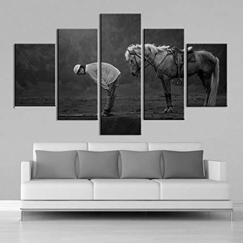 JJJKK 5 Pieza Cuadro sobre Lienzo Arte Musulmán Caballo Animales Enmarcado y Listo para Colgar Moderno Decoracion de Pared Abstractos Impresión Artística