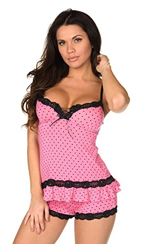Velvet Kitten Sexy Hot Pink Lacey Date Night Short Set Polka Dot Cami Set Women's Pajama Set (Large, Pink)