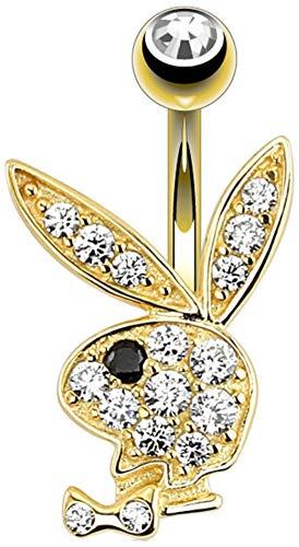 Piercing para ombligo de oro de 14 quilates con logo de conejito Playboy con licencia oficial, cristal transparente/negro no colgante, disponible en nuestra tienda de Amazon Pegasus Body Jewellery