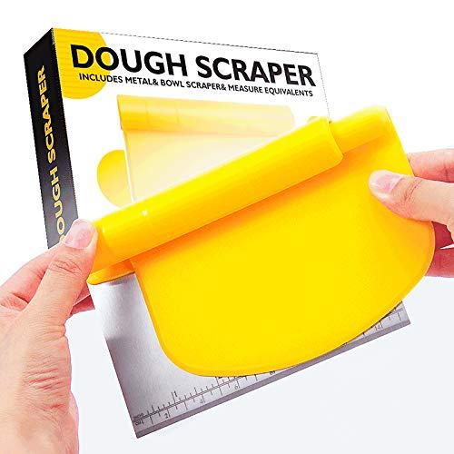 Bench scraper, suitable for baking, stainless steel dough scraper/cutter/chopper and flexible plastic bowl scraper set-pastry, pizza cutter, baking tool belt measurement, 2 in 1 kitchen scraper