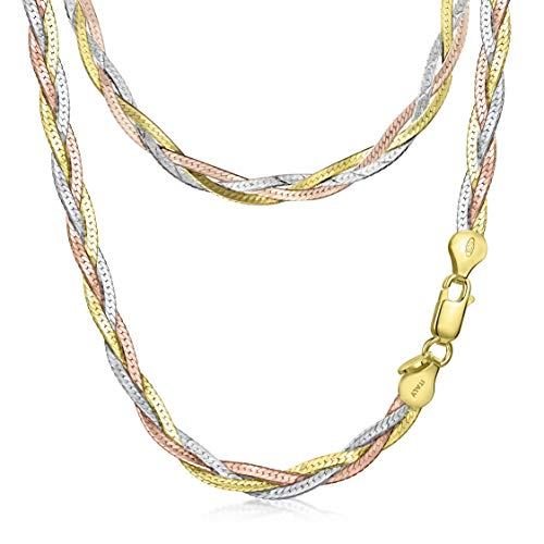 Amberta Women's 925 Sterling Silver Braided Herringbone Chain Necklace (Length 18 inch): Multicoloured