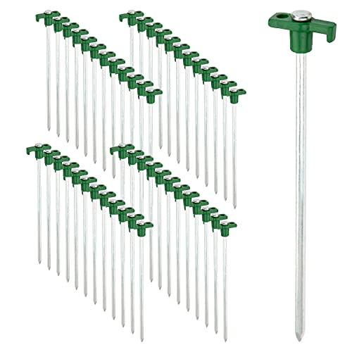 ToCi 48x Zelt-Heringe aus Stahl - Robuste Erdnägel mit Halterung aus Kunststoff - Felsbodenheringe für Harte Böden - ideal für Camping und Outdoor