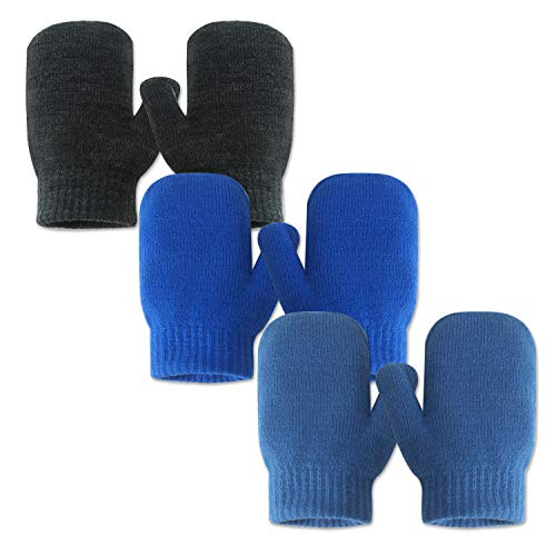 EvridWear Infant Thermal Warm Stretch Knitted Mittens 3 Pairs Toddlers Plain Soft Anti Scratch Winter Gloves for Kids