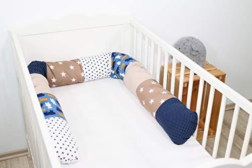 Paracolpi ULLENBOOM ® in sabbia, orso (paracolpi cilindrico 200x13 cm, ideale per coprire gli spigoli e supportare i neonati)