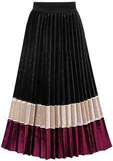 Abito da donna in velluto con elastico alto in vita vintage Midi Swing Dress cuciture colore