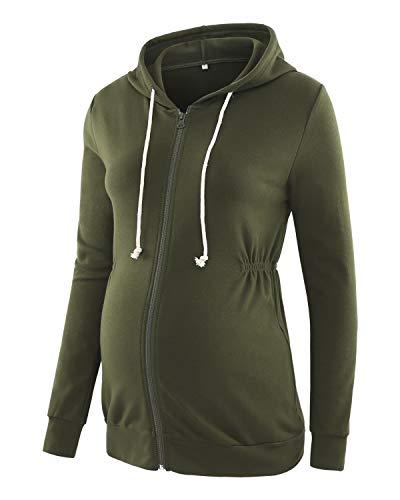 Love2Mi Damen Schwangere Kapuzenpullover Zipper Sweatshirts Jacke Umstandsmode Langarm Hoodie, Armee-grün, S
