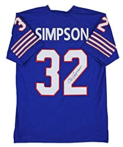 Bills O.J. Simpson Authentic Signed Blue Jersey Autographed JSA Witness