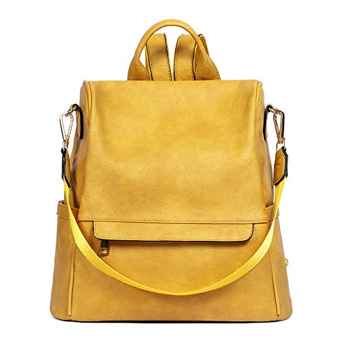 CLUCI Women Backpack Purse Fashion Leather Large Designer Travel Bag Ladies Shoulder Bags Two-Toned Yellow