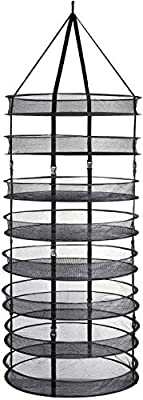 """Plant Drying Rack Net 63"""" 8-Tier Hydroponics Plant Grow Kit Hydroponic Kit 24"""" Detachable Plant Drying Rack Adjustable Sizes 2/4/6/8 Layers with Carrying Bag for Herb Drying Bud Drying"""