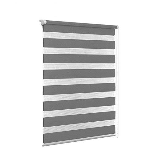 HENGMEI Verdunkelungsrollo Fensterrollo Balkontür Rollo Duo-Rollo Doppelrollo ohne Bohren Klemmrollo Easyfix Fenster (Grau, 80 * 150cm)