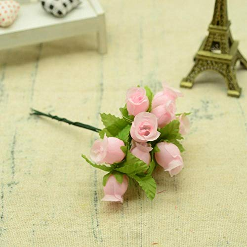 12st zijde rozen boeket diy kerst slingers vazen voor thuis bruiloft decoratie accessoires goedkope kunstmatige plastic bloemen, licht roze
