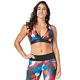 Zumba V Neck Style Women Compression Bra Dance Workout High Impact Sports Bra, Bold Black 0, S
