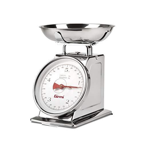 Girmi PS90 Báscula mecánica de cocina, 5 kg, acero inoxidable